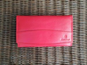 Lederen beugel portemonnee met ijzeren knip sluiting, rood