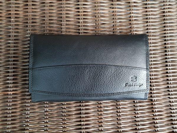 Lederen beugel portemonnee met ijzeren knip sluiting, zwart