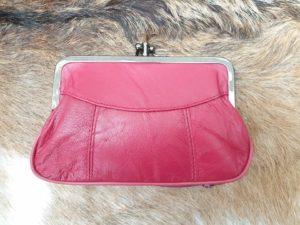 Lederen beugel portemonnee met dubbele knip, rood