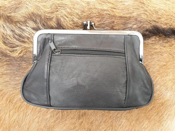 Lederen beugel portemonnee met dubbele knip, zwart