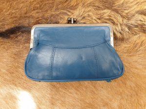 Lederen beugel portemonnee met dubbele knip, blauw