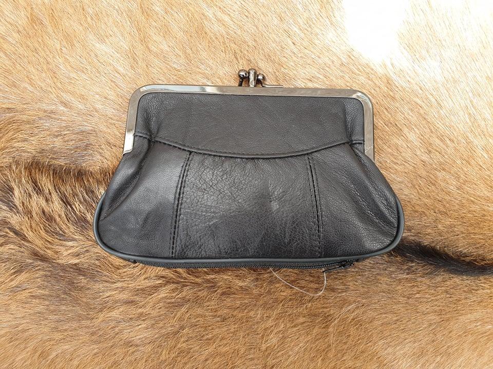 a1dc8abcdb6 Lederen beugel portemonnee met dubbele knip, zwart