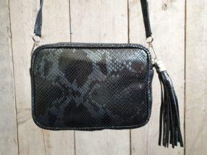 Leder tasje met slangenprint, kleur Zwart