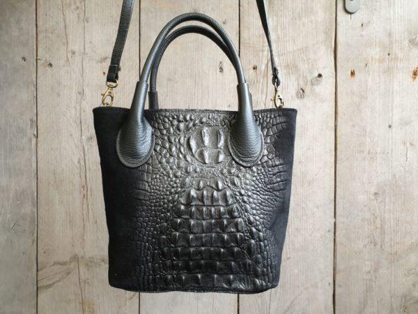 Zwart tasje van leer met kroko print