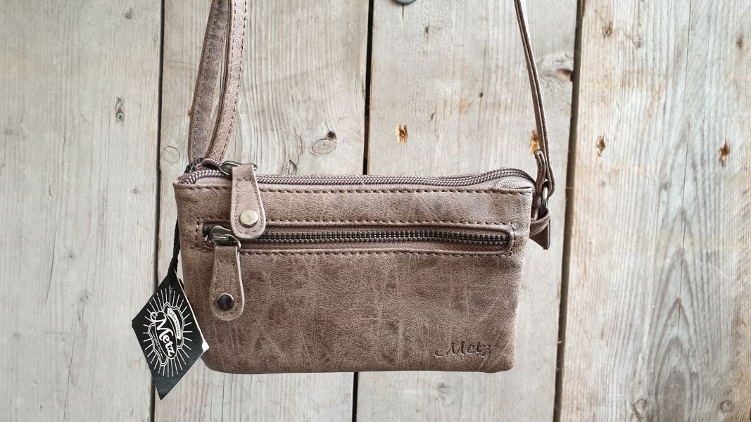 320ab7c335a Leuk mini stap- en portemonnee tasje, gemakkelijk in gebruik, taupe
