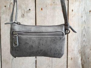 Leuk mini stap- en portemonnee tasje, grijs