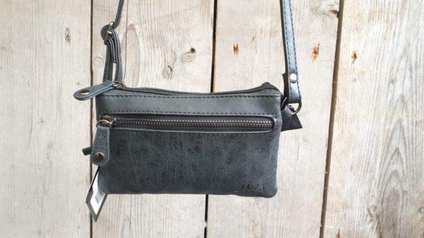 Leuk mini stap- en portemonnee tasje, zwart