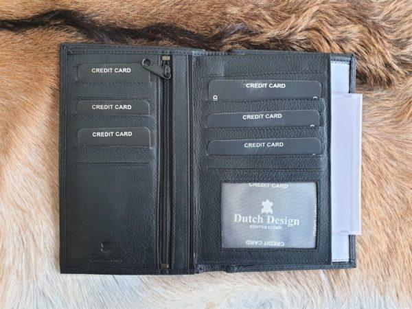 Luxe lederen portefeuille, autopapieren mapje, zwart