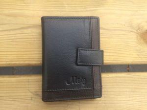 Lederen mapje voor ruim 30 creditcards, zwart
