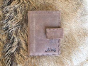 Lederen creditcard mapje, combi portemonnee, bruin