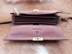 Lederen portemonnee met groot munt vak hunter bruin
