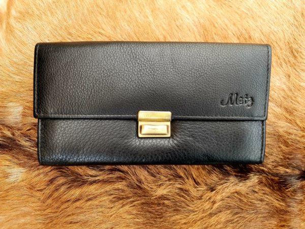 Lederen portemonnee met groot munt vak, zwart