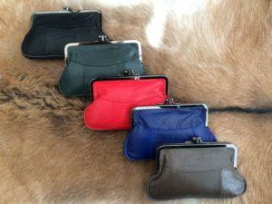 Lederen beugel portemonnee met dubbele knip, div kleuren