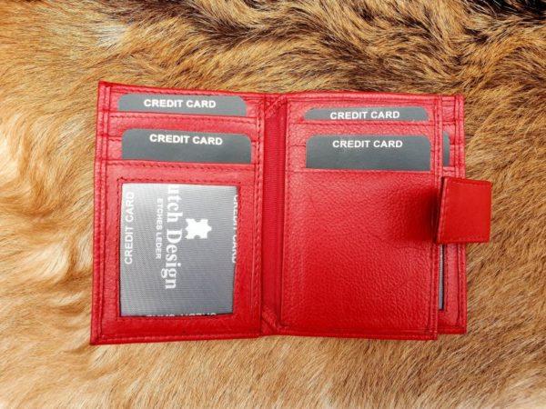 Kleine rode lederen portemonnee voor geld en pasjes