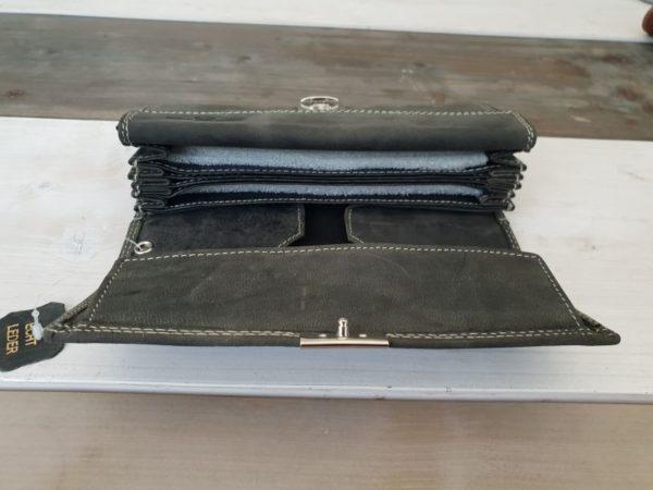 Luxe zwarte lederen horeca portemonnee met groot muntvak