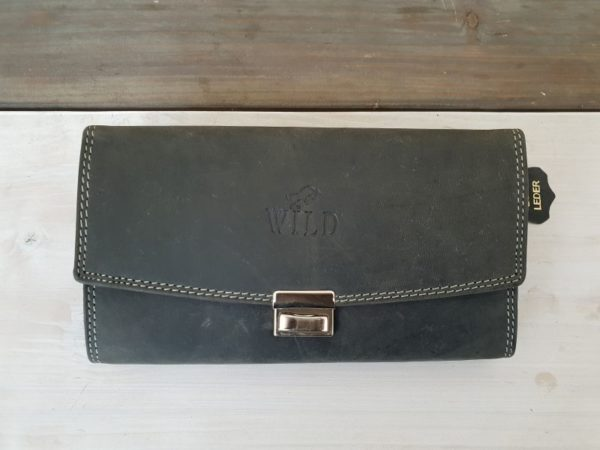 Luxe zwarte lederen horeca portemonnee met muntvak