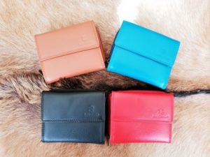 Lederen portemonnee met sterke nylon rits in diverse kleuren