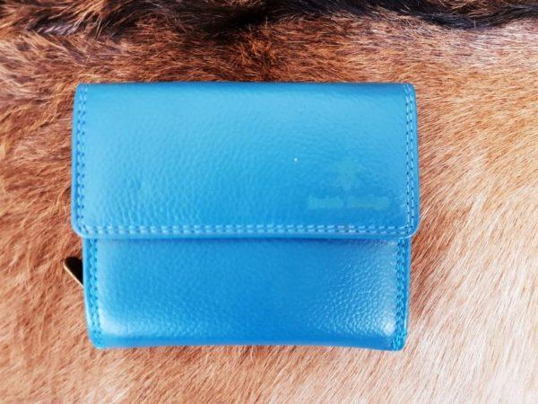 Lederen portemonnee met sterke nylon rits, aqua blauw