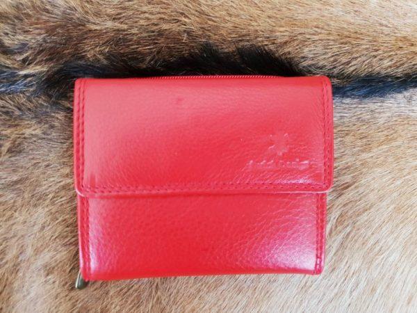 Lederen portemonnee met sterke nylon rits, rood