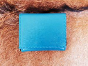 Compacte portemonnee met rits, aqua blauw