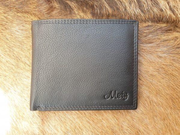 Platte heren billfold portemonnee, leer zwart