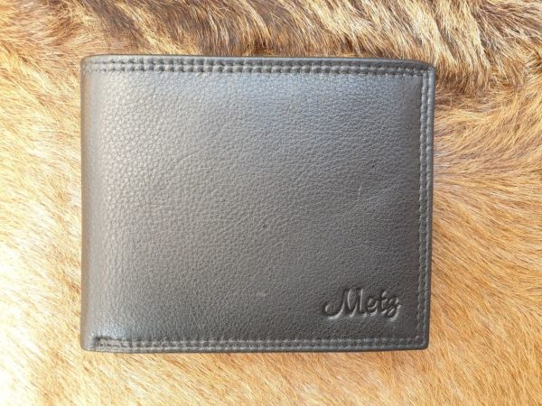 Platte billfold portemonnee, met lederen voering, zwart