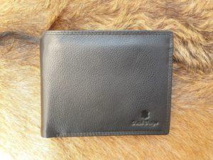 Lederen billfold portemonnee met ruime rits erin, zwart