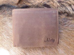 Bestseller ! Lederen billfold portemonnee, hunter bruin