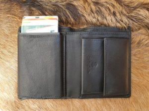 Lederen billfold portemonnee met card protector
