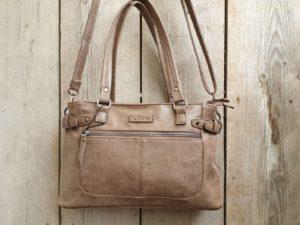 Fijne shopper met handvatten en verstelbare schouder riem, bruin