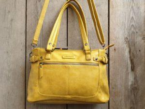 Fijne shopper met handvatten en verstelbare schouder riem, geel