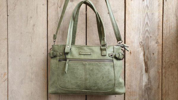 Fijne shopper met handvatten en verstelbare schouder riem, groen