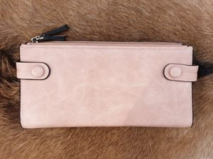 Ruime rits portemonnee, licht roze
