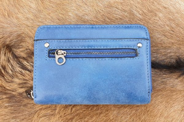 Super leuke compacte portemonnee met rits, blauw
