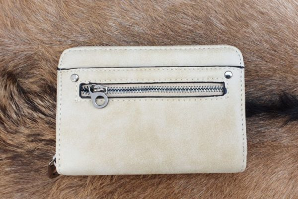 Super leuke compacte portemonnee met rits, crème