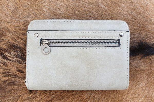 Super leuke compacte portemonnee met rits, grijs
