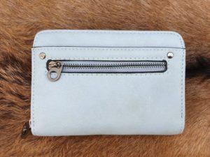 Super leuke compacte portemonnee met rits, licht blauw