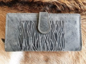 Luxe lederen portemonnee met ritsvak en veel ruimte, grijs