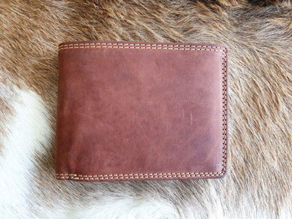 Anti skim portemonnee van buffelleer, bruin