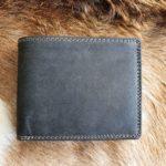 Anti skim portemonnee van buffelleer, zwart