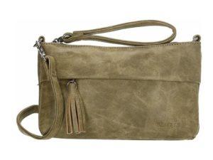 Mooie clutch / schoudertas van Beagles, olijf groen