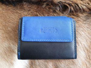 Compacte lederen portemonnee, zwart-blauw