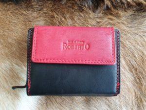 Compacte lederen portemonnee, zwart-rood