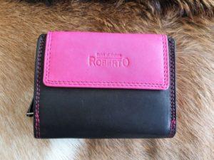 Compacte lederen portemonnee, zwart-roze