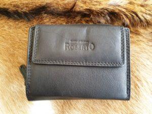 Compacte lederen portemonnee, zwart