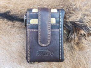 Combi pasjeshouder, portemonneetje en sleutelhanger, bruin