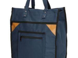 blauwe canvas boodschappentas met canvas handvatten
