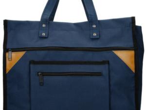 Blauwe canvas boodschappentas, breed met canvas handvatten