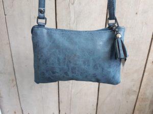 Tasje en portemonnee tegelijk, met ritsjes en pasjes vakjes, blauw