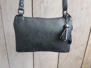 Tasje en portemonnee tegelijk, met ritsjes en pasjes vakjes, zwart